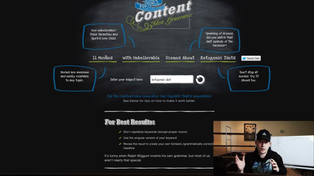 블로그 주제 정하기 - portent blog idea generator